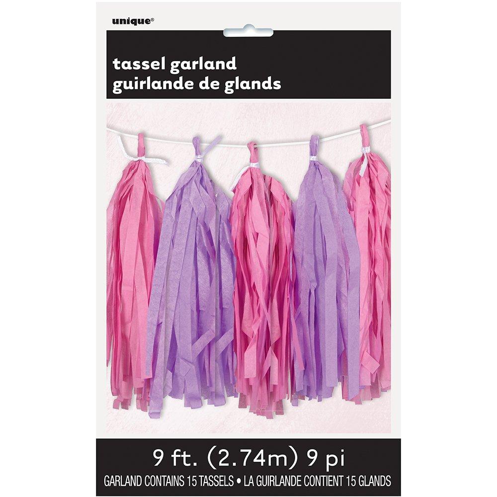 9ft Tissue Paper Pink Purple Tassel Garland