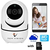 Tomvision 1080P HD Wireless WIFI PTZ Camera Auto Track Security Camera with Night Vision/Two-way Voice Intercom/Remote Monitoring/Intelligent Tracking/Human Body Detection with 32GB SD Card