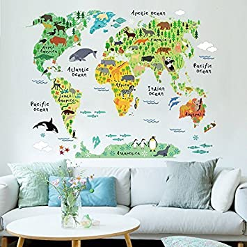 amazon com rrrljl variety animals world map wall decals sticker for rh amazon com Vintage World Map Wall Mural World Map Metal Wall Art