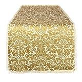 DII 100% Jute, Damask Printed Burlap Fringe Table Runner, 14 by 72-Inch, Gold