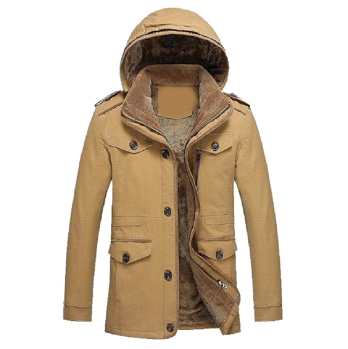 YUNY Men Hoodie Outwear Thicken Cotton Fleece Lined Parka Jackets Khaki M