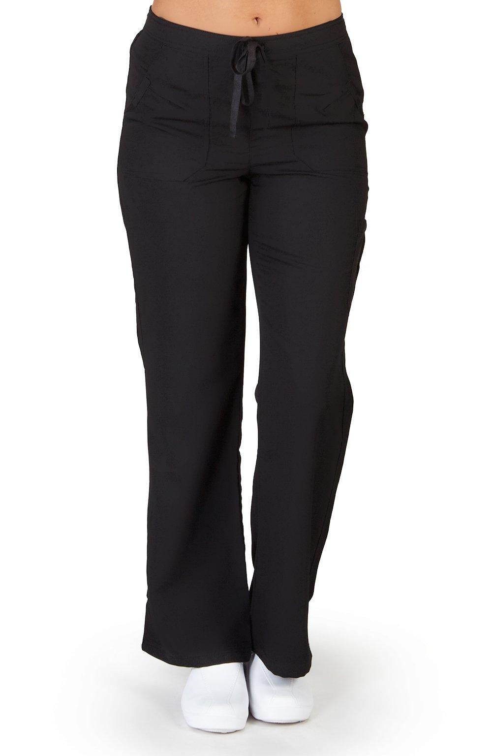 Ultra Soft Brand Scrubs - Premium Womens Junior Fit Cargo Pocket Scrub Pant, Black 36170-XX-Small