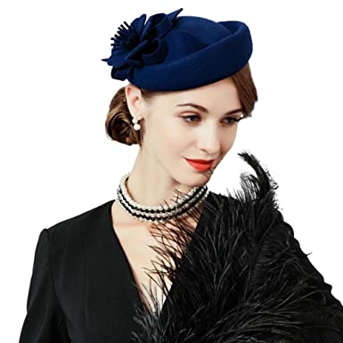 ee71a8d44591e Krastal Fascinators Wool Felt Floral Pillbox Hats Wedding Formal British  Fedoras at Amazon Women s Clothing store