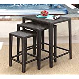 Abbyson Living Paige Outdoor Wicker 3 Piece Nesting Table Set in Espresso