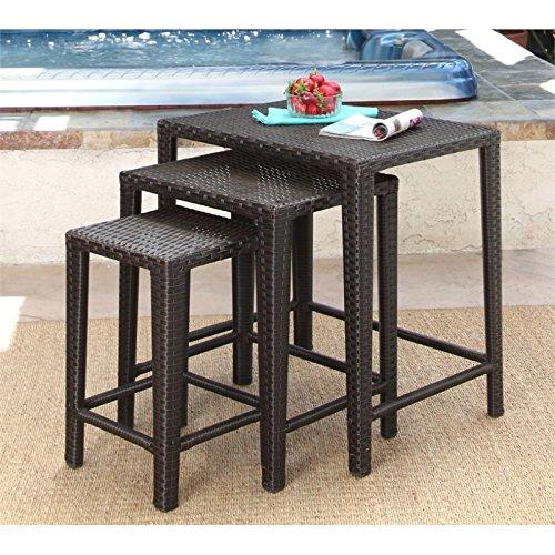 Abbyson Paige Outdoor Wicker 3 Piece Nesting Table Set in Espresso (Tables Nesting Iron Square)