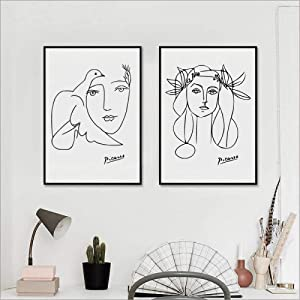TWTQYC Picasso Poster Modern Minimalist Female Art Picasso Girl Face Sketch Canvas Painting, Pablo Picasso Art Woman Sketch Prints|50x70cmx2Pcs/No Frame