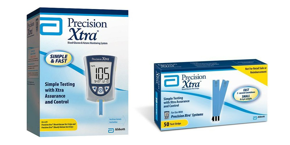 Precision Xtra Blood Glucose & Ketone Monitoring System Bundle with 50 Precision Xtra Blood Glucose Test Strips by Precision Xtra