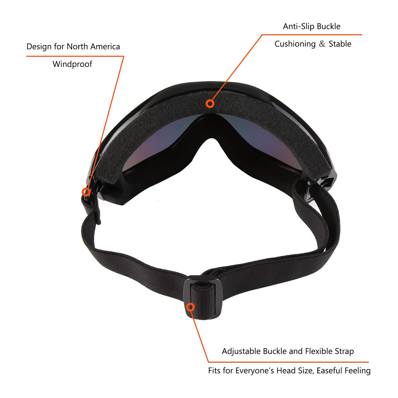3ebc129e834 COMLIFE 2018 Upgraded OTG Ski Goggles,Frameless Bendable Soft Thick Foam Snowboard  Goggles with Anti-Fog Anti-Glare Lenses, UV400 Protection, ...