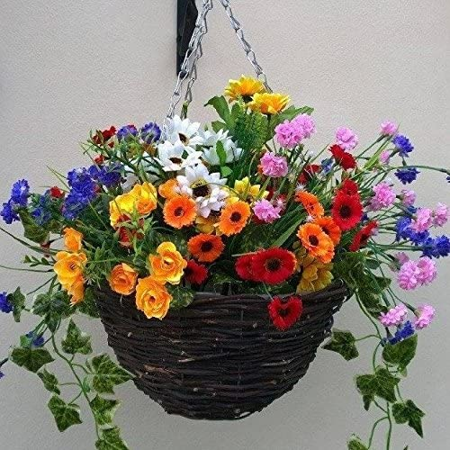 Artificial Flowers Hanging Planter Out Door Mixed Wild Flowers Flowers Basket And Bark Amazon Co Uk Garden Outdoors