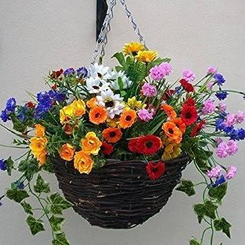 Artificial flowers hanging planter out door mixed wild flowers artificial flowers hanging planter out door mixed wild flowers flowers basket and bark mightylinksfo