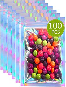 Resealable Smell Proof Bags Foil Pouch Mylar Ziplock Food Storage Bags with Clear Window Packaging Pouch for Food Storage Gift Package Supplies (100-pack,Holographic Color, 4.7 x 7.9 Inches)