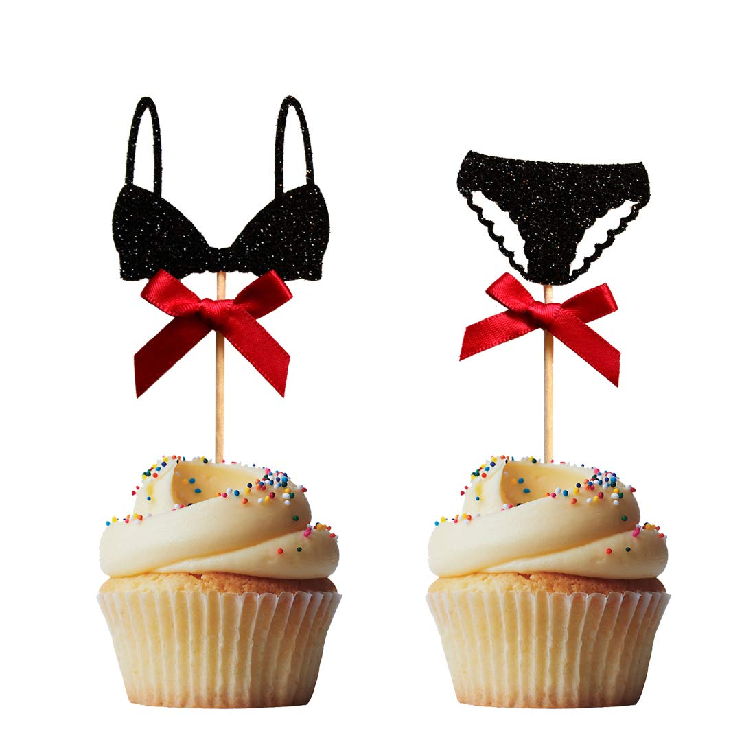 Morndew 24PCS Black Lingerie Hen Party Cupcake Toppers for Birthday Party Bridal Shower Wedding Party Dessert Decorations