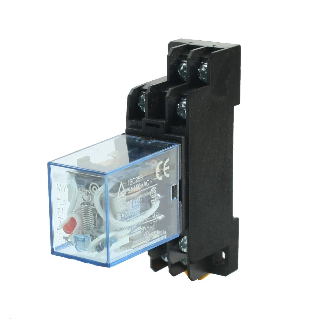 uxcell AC110/120V Coil Red Pilot Lamp DPDT Power Relay 5A w DIN Rail Socket a13122300ux0037
