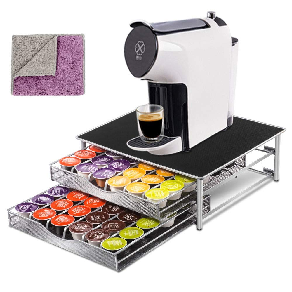 Deluxe Double Layer Storage Drawer Holder for Dolce Gusto K CUP Capsules 72 Coffee Pod Holder with 1 Pc Cleaning rags