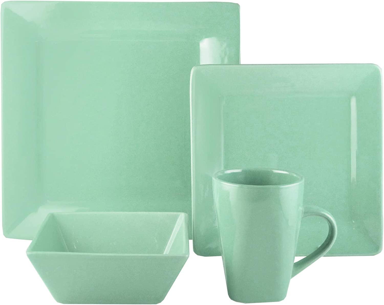 American Atelier Casual Dinnerware Set – 16-Piece Stoneware Party Collection w/ 4 Dinner Salad Plates, 4 Bowls & 4 Mugs – Gift Idea for Any Occasion, Square, Green