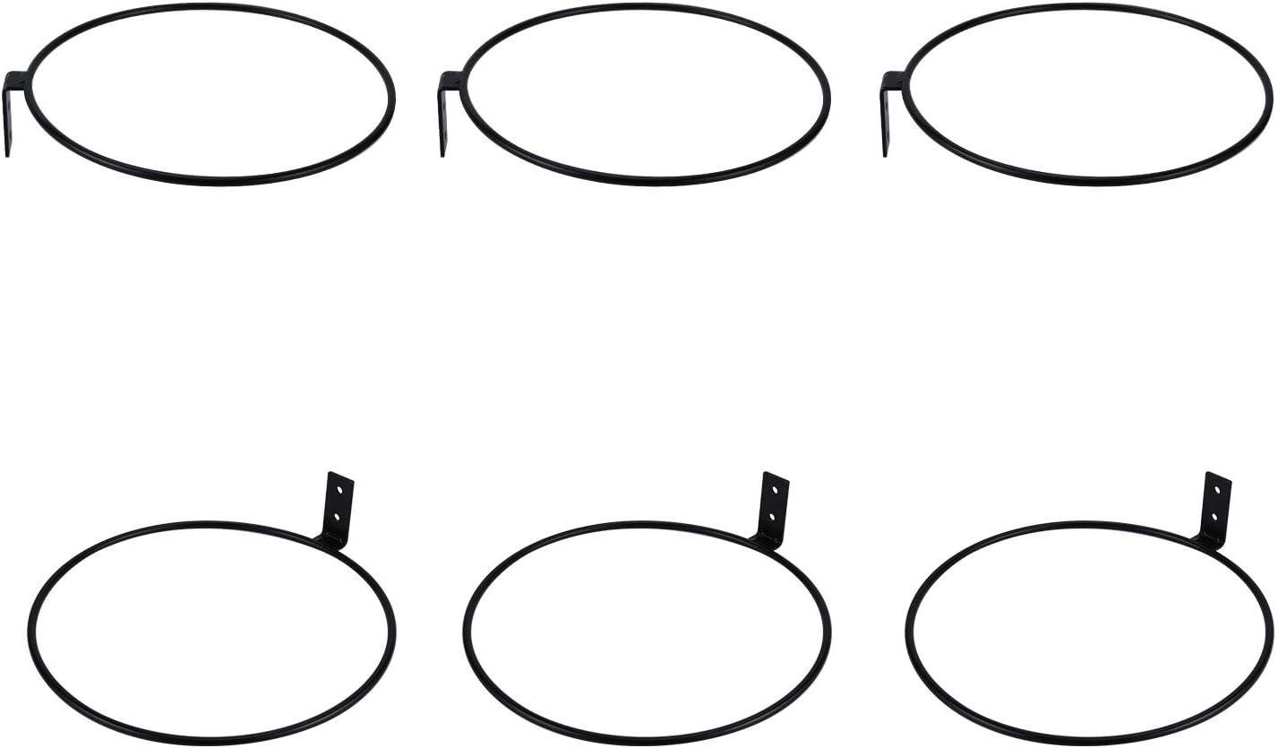 TQVAI 8 inch Flower Pot Holder Ring Wall Mounted 6 Pack Metal Planter Hooks Hangers Wall Bracket, Black