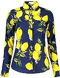 DOKKIA Women's Fashion Tops Feminine Long Sleeve Button Down Work Casual Dress Blouses Shirts (Medium, Navy Blue Yellow Lemon)