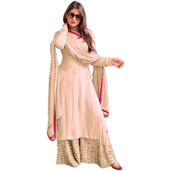 9c42223671ae Salwar Soul Women's Georgette Embroidered Semi-Stitched Fancy Salwar Suit  Palazzo (Beige)