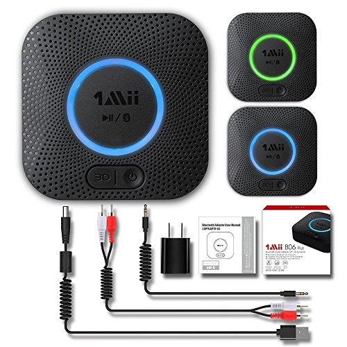 1Mii B06 Plus Bluetooth Receiver, HIFI Wireless Audio Adapter, Bluetooth 4.2 Receiver with 3D Surround aptX Low Latency for Home Music Streaming Stereo System (Upgraded With Power Adapter) (Bluetooth For Home Stereo System)