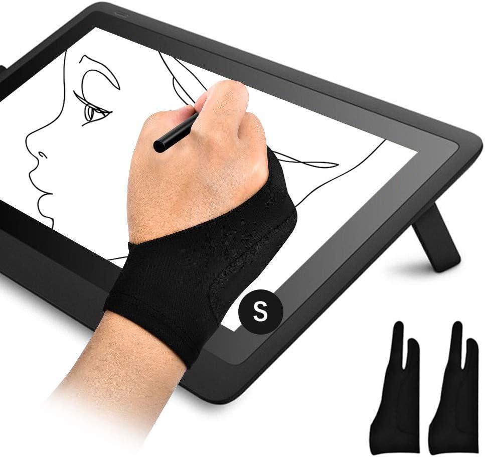 OTraki Guantes Tableta Gráfica 2PCS Doble Capa Palma Rejection Guantes Dibujante Antiincrustantes para Dibujar Diseño Guante de 2 Debos para Niño Mano Pequeño, Talla S (7x18.5CM)