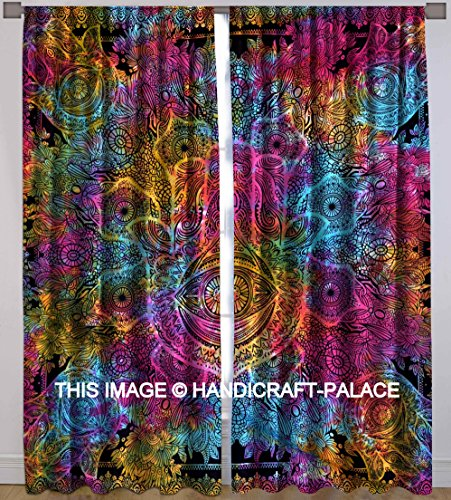Hamsa Hand Fatima Cotton 2 pc Curtain Set Indian Handmade Valance Room Divider Window Hanging Door Hanging, Window Treatment Cotton Tie Dye Curtains By
