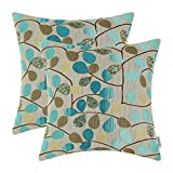 Set of 2 CaliTime High Class Pillows Covers Chenille Reversible Leaves 20 X 20 Inches Main Teal