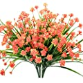 ALIDEAL Artificial Daffodils Flowers,Fake Plant Outdoor Faux Red Orange Flora Greenery Bushes Fence Indoor Outside Decor
