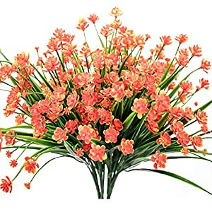 E-HAND Artificial Daffodils Flowers,Fake Plant Outdoor Faux Red Orange Flora Greenery Bushes Fence Indoor Outside Decor 9