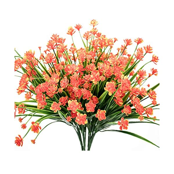 E-HAND Artificial Daffodils Flowers,Fake Plant Outdoor Faux Red Orange Flora Greenery Bushes Fence Indoor Outside Decor
