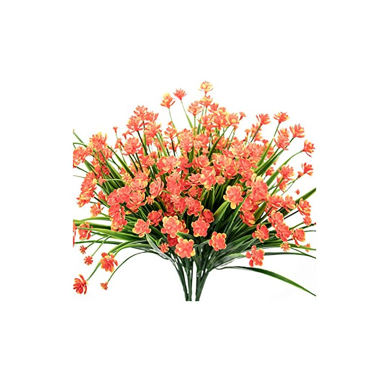 silk flower arrangements e-hand artificial daffodils flowers,fake plant outdoor faux red orange flora greenery bushes fence indoor outside decor