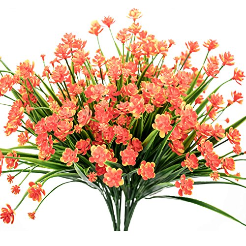E-HAND Artificial Daffodils Flowers,Fake Plant Outdoor Faux Red
