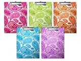 Paisely Printed Paperboard Clipboard 5pk Multi Colorful Clipboards