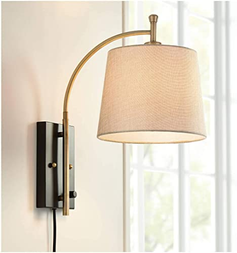 Chester Modern Swing Arm Wall Lamp Antique Brass Black Metal Plug-in Light Fixture Dimmable Tan Drum Shade