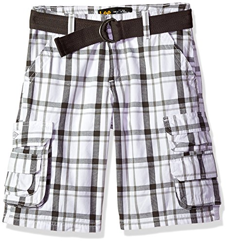 Plaid Boys Shorts - LEE Boys' Big Dungarees Belted Wyoming Cargo Short, White Kendall Plaid, 12 Regular