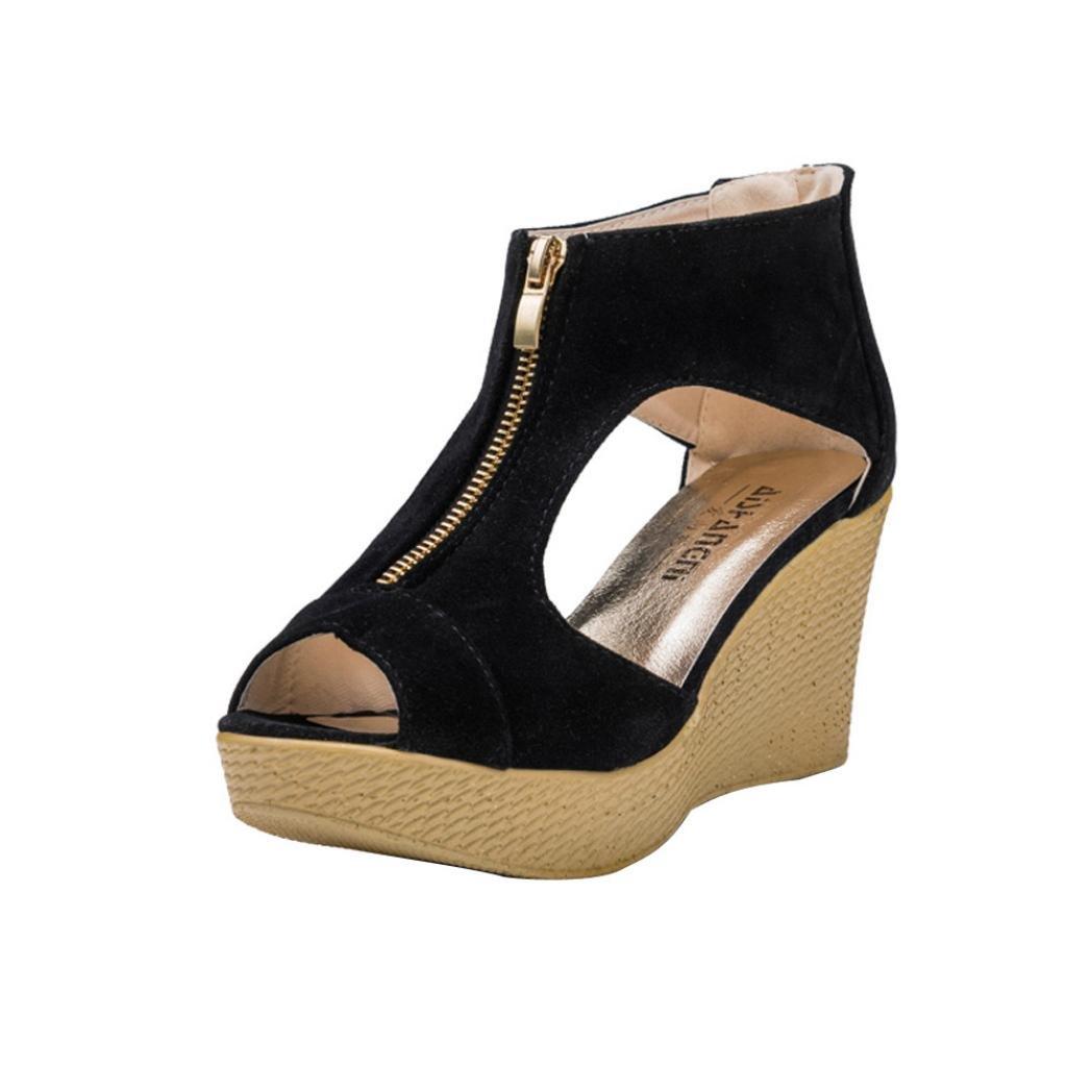 YANG-YI Clearance Women Summer Sandals Casual Peep Toe Platform Wedges Sandals (Black, US-7.5)