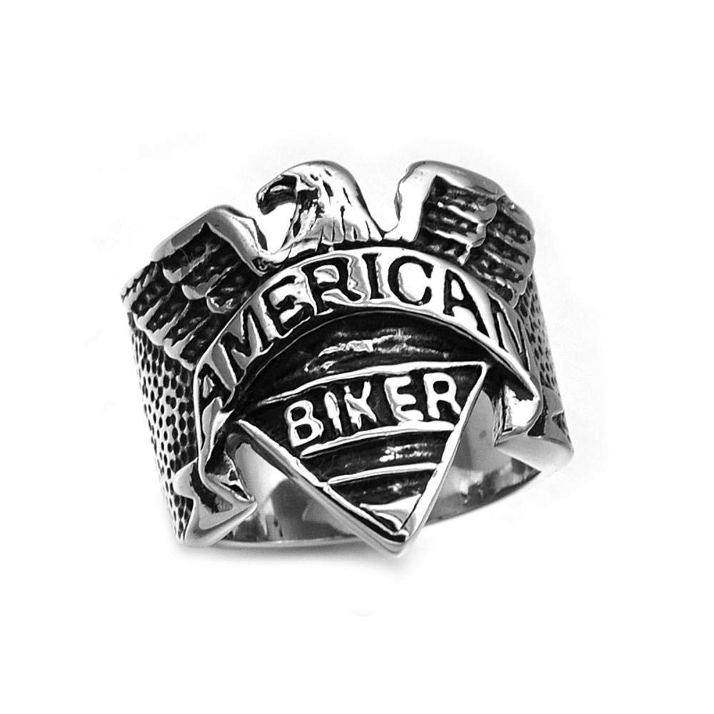 Dixinla Rings Steel , European Men's Fashion Personality Punk Rock Style Stainless Steel Titanium Steel Eagle Ring Jewelry Gift for Family or Friends