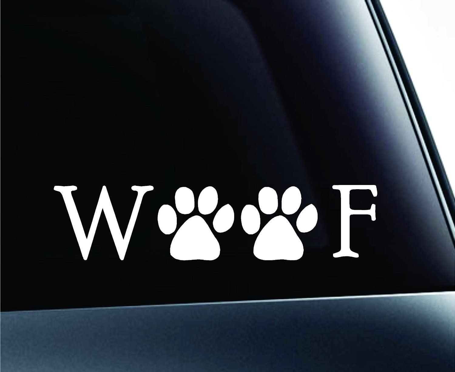 7 X 2 In Keen Woof Text Paw Prints Dog Symbol Decal Funny Car Truck Sticker Window