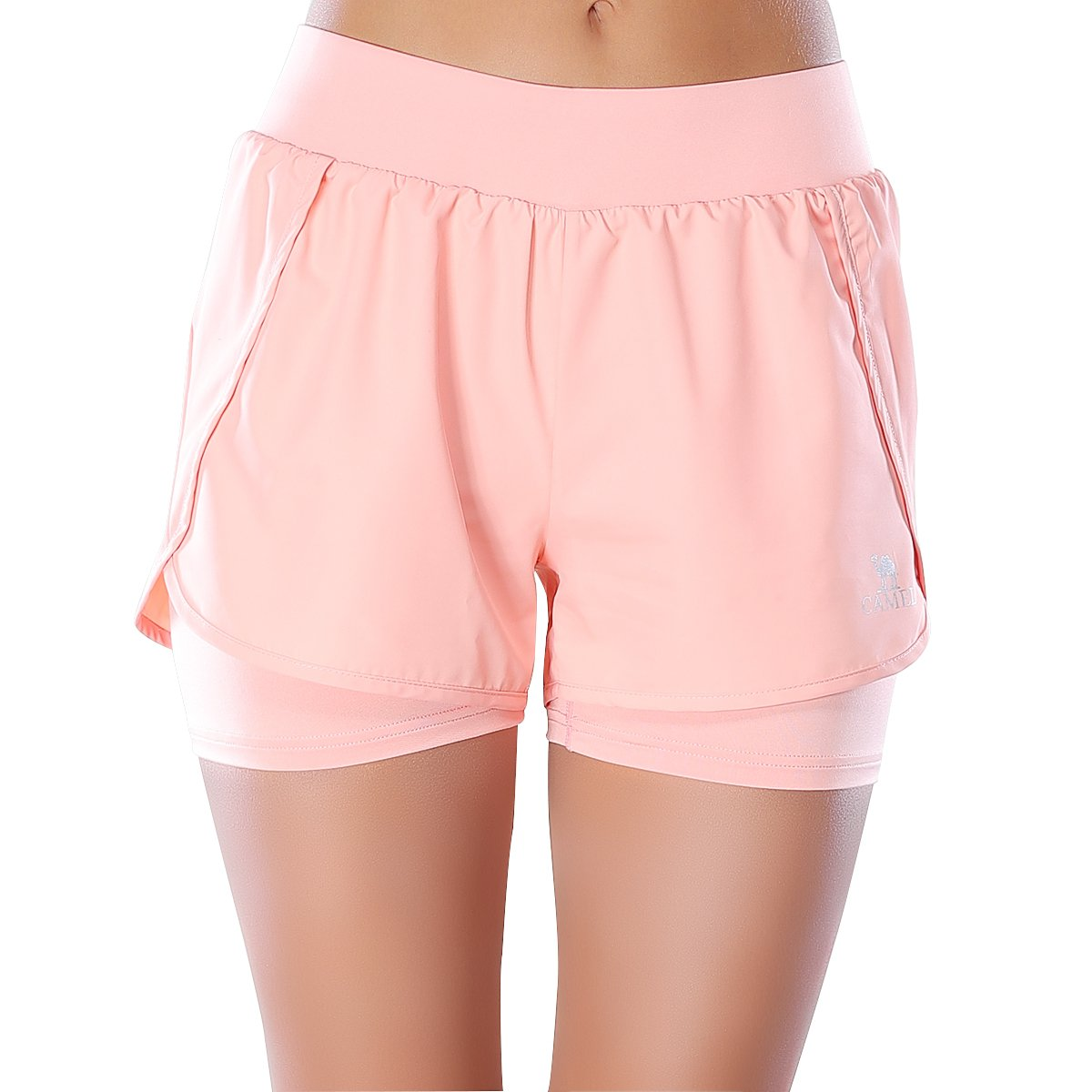 Camel Running Shorts for Women Athletic Sports Fitness Double Layer Yoga Shorts With Compression Lining Tights