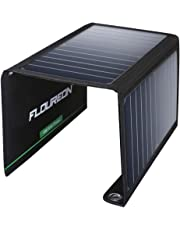 FLOUREON Solar Charger Power Bank 15W Solar Panel Charger with Dual USB Ports Waterproof Foldable for Smartphones Tablets and Camping Travel
