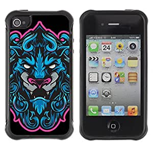 Hybrid Anti-Shock Defend Case for Apple iPhone 4 4S / Cool Neon & Blue Tiger