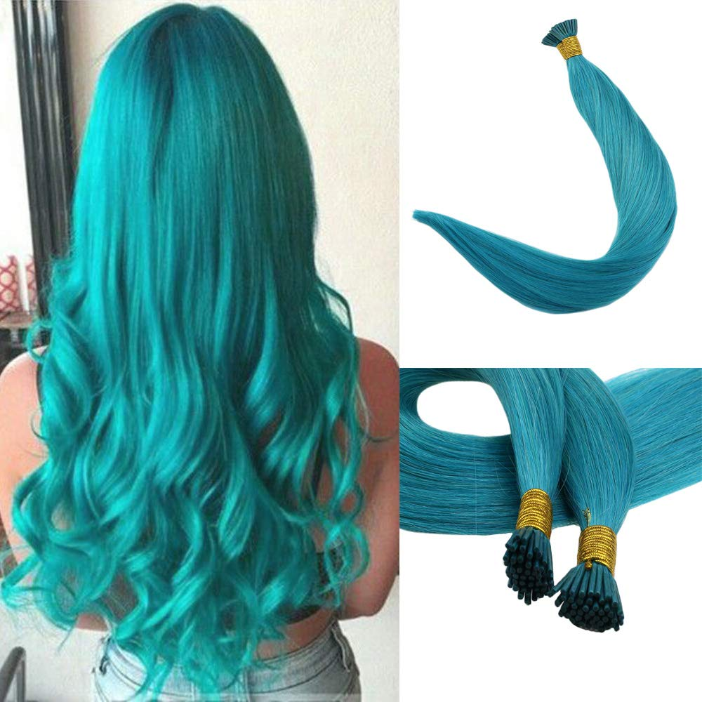Full Shine 16'' I Tip Hair 0.8g Per Strand 40g Per Package Real Remy Hair Extensions Solid Color Teal Fusion I Tip Pre Bonded Brazilian Hair Fusion Hair Extensions by Full Shine