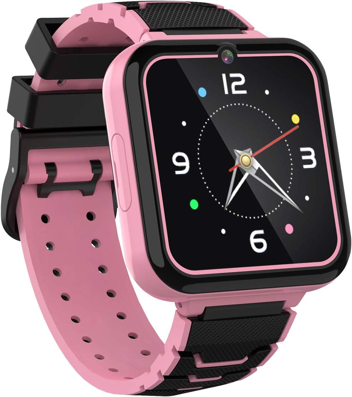 Reloj Inteligente para Niños Smartwatch Teléfono-Pantalla Táctil HD con Música Juego Linterna Llamar SOS Cámara Despertador Juguetes de Aprendizaje Niños Regalo con Ranura para Tarjeta SIM (Rosa)