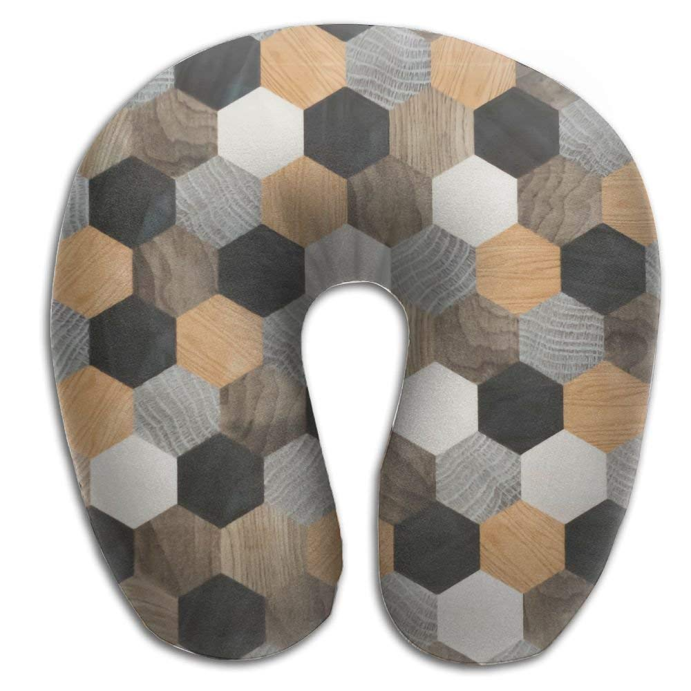 Hexagonal Wood Wall Tile Print U Type Pillow Memory Foam Neck Pillow for Travel and Relief Neck Pain Fashion Super Soft Cervical Pillows with Resilient Material Relex Pollow
