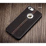 SGC (TM) Vorson Apple iPhone 5/5S/SE LEXZA Series Double Stitch Leather Shell Back Cover Case - Black + Free Stylus Pen