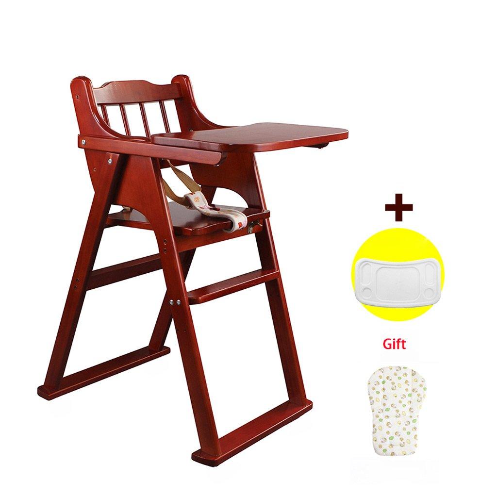 ポータブルチャイルドハイチェア、調節可能な赤ちゃん授乳マット、木製折りたたみチャイルドダイニングチェア、L37.5 * W46 * H82cm(ダークコーヒーカラー)   B07BWBCFFQ