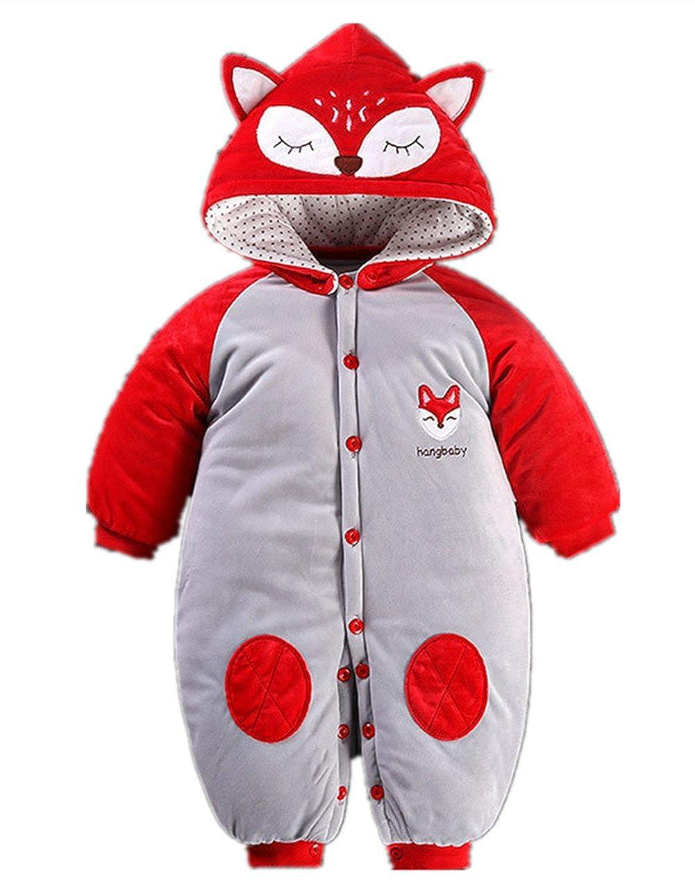Beide Toddler Baby Boys Girls Cartoon Animal Thick Romper Warm Bodysuit Playsuit for Autumn Winter