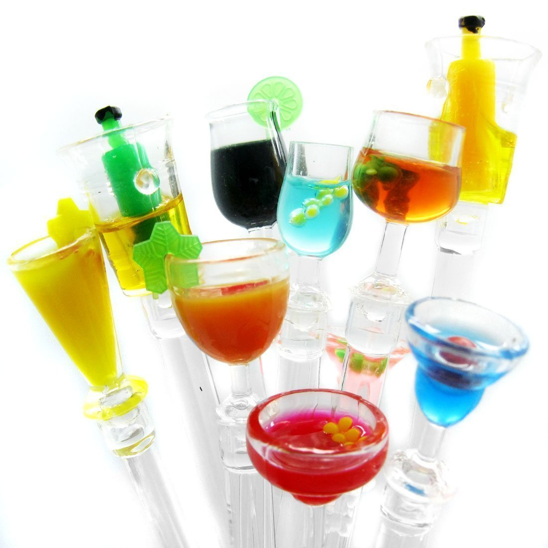 30 Acrylic Cocktail Swizzle Sticks/Drink Stirrers Party Swizzle Spoon(Assorted) - Cocktail Mixing Spoon, Bootle Cup Mixer Stir Sticks Small Bar Party Supply