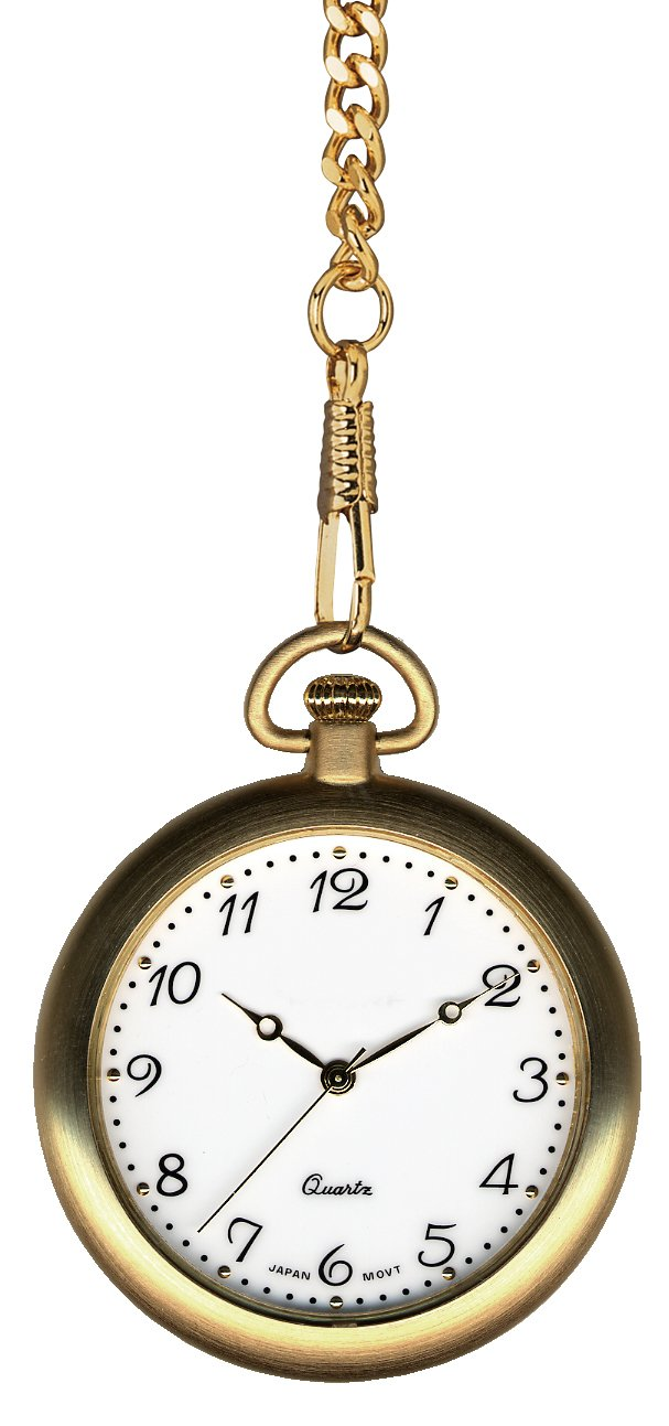 Pedre Gold Tone Pocket Watch with 14'' Chain and Engravable Wooden Display Stand, 8710GX