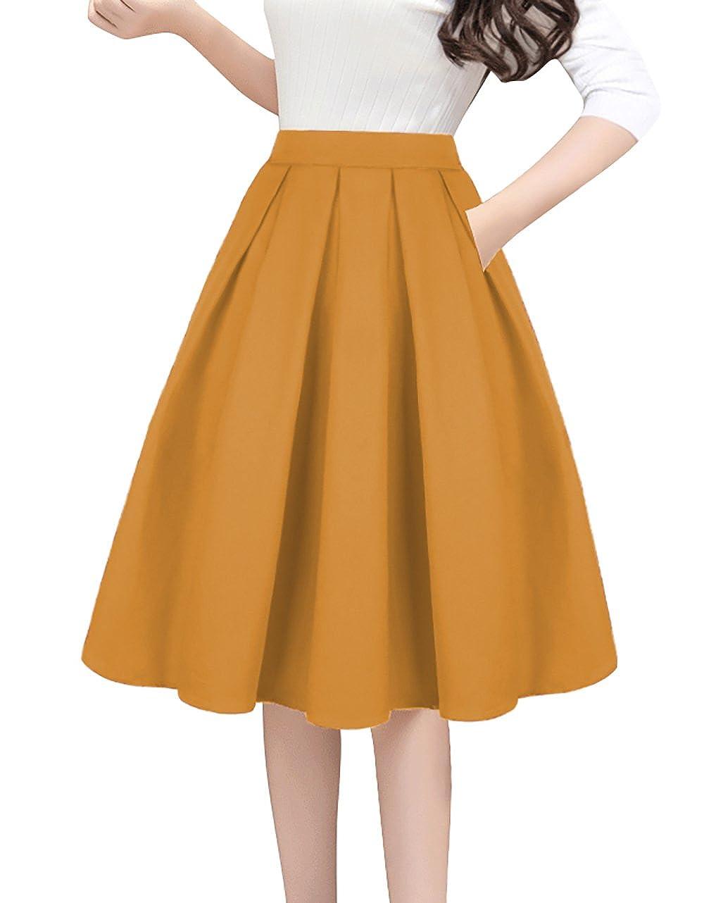 orange Tandisk Women's Vintage Aline Printed Pleated Flared Midi Skirts with Pockets
