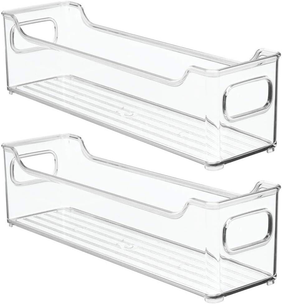 mDesign 4er-Set Aufbewahrungsbox f/ür die K/üche durchsichtig K/ühlschrankkorb aus Kunststoff Obst und andere Lebensmittel K/ühlschrankbox f/ür Milchprodukte